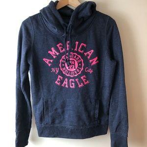 American Eagle Navy Blue & Hot Pink Hoodie